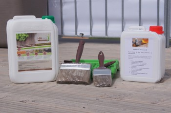 Holzterrassen Set mit HAresil Argentum 5 Liter, HABiol UV Terrassenöl 2,5 Liter und 3-Teiligen Pinselset
