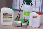 Holzterrassen Profi Set mit HAresil Argentum 5 Liter, HABiol UV Terrassenöl 2,5 Liter und 3-Teiligen Pinselset